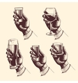Hands holding glasses with drinks beer tequila vector image