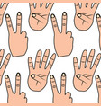 hands showing different numbers counting pattern vector image