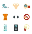 Healthy lifestyle icons set flat style vector image vector image