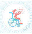 icon disabled girl with a stroller vector image vector image