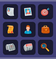 job search icon set office concept human vector image vector image