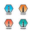 lighthouse logo set template design vector image