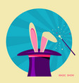 magic hat and white rabbit label for design vector image vector image