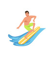 male surfer on surf board water sport activity vector image vector image