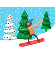 man on snowboard riding on hill extreme sport vector image vector image