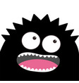 monster head with two eyes teeth tongue black vector image vector image