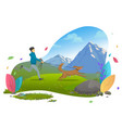 mountains landscape guy running with dog on leash vector image vector image