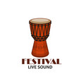 music concert or folk festival symbol with drum vector image