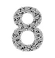 nnumber eight with white flowers vector image vector image
