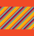 orange pop art colored striped diagonal fabric vector image vector image