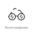 outline round eyeglasses icon isolated black vector image vector image