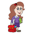 pupil with school bag vector image vector image
