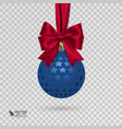 Realistic christmas ball with red ribbon isolated