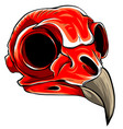 realistic red bird skull for vector image vector image