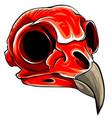 realistic red bird skull vector image vector image