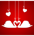 Red background with two white swans vector image