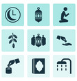 religion icons set with holy book financial vector image vector image
