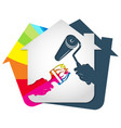 roller and brush in hand symbol for painting a vector image vector image