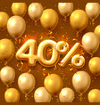 sale 40 off ballon number on red background vector image vector image