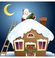 Santa Claus with Christmas gift on a roof vector image vector image