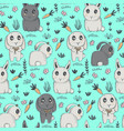 seamless pattern with hand drawn cute vector image vector image