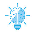 silhouette brain bulb to crative ideas solutions vector image
