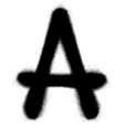 sprayed A font graffiti in black over white vector image vector image