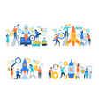 startup business characters rocket launch success vector image