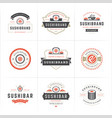 sushi restaurant logos and badges set japanese vector image vector image