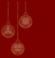 three christmas ball toy decorations hanging on vector image vector image