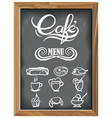 Vintage chalkboard with cafe menu icons