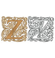 vintage initial letter z with baroque decoration vector image vector image