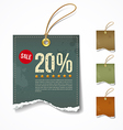 Vintage Label ripped paper sale for business vector image vector image