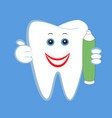 white smiling tooth with a tube of toothpaste vector image