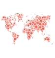 World map mosaic of red dots vector image vector image