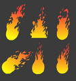 yellow and red fire set of hand drawn frames vector image