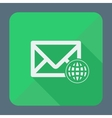 Mail icon envelope with globe Flat design vector image