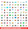 100 transport and road icons set cartoon style vector image vector image