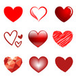 9 hearts style set isolated on white background vector image