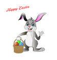 a rabbit congratulates on a bright easter holiday vector image