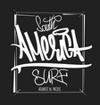 america surfing artwork t-shirt apparel print vector image vector image