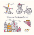 amsterdam symbols in sketchy style vector image