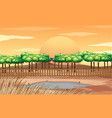background scene with fence around pond vector image