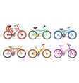 bicycles collection colorful bikes with different vector image vector image