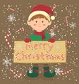 board candy cane christmas elf boy vector image vector image
