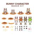 bunny character kit vector image vector image