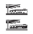 buses arranged for departure from station vector image vector image