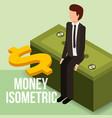 businessman sitting on stack banknote dollar money vector image