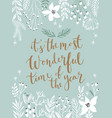 christmas callygraphic card - hand drawn floral vector image vector image