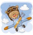 cute teddy bear is flying on a plane vector image